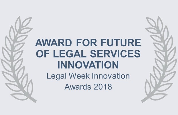 Award for future legal services innovation Legal Week Innovation Awards 2018