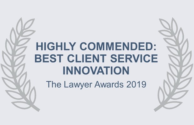 Highly commended: Best client service innovation The Lawyer Awards 2019