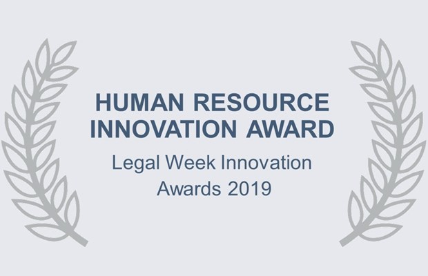 Human Resource Innovation Award Legal Week Innovation Awards 2019