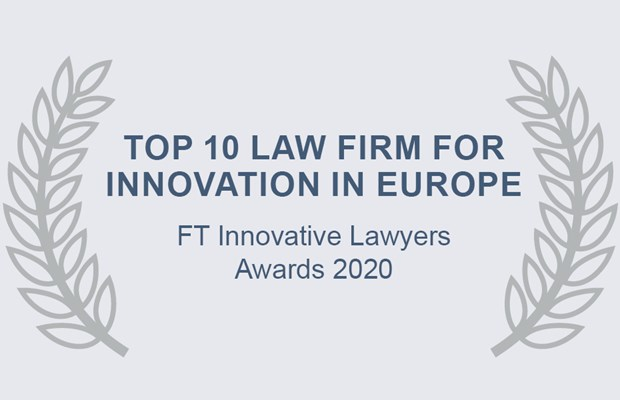 Top 10 Law Firm for Innovation in Europe FT Innovative Lawyers Awards 2018